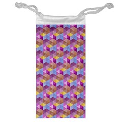 Hexagon Cube Bee Cell Pink Pattern Jewelry Bag by Cveti