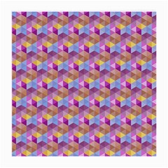 Hexagon Cube Bee Cell Pink Pattern Medium Glasses Cloth (2 Side) by Cveti