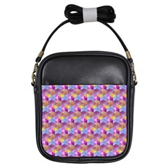 Hexagon Cube Bee Cell Pink Pattern Girls Sling Bags by Cveti