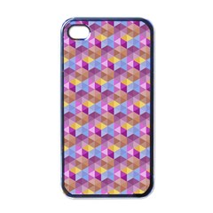 Hexagon Cube Bee Cell Pink Pattern Apple Iphone 4 Case (black)
