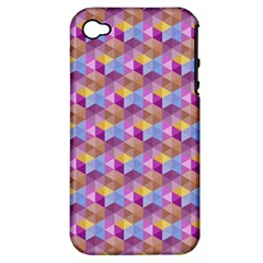 Hexagon Cube Bee Cell Pink Pattern Apple Iphone 4/4s Hardshell Case (pc+silicone) by Cveti