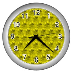Hexagon Cube Bee Cell  Lemon Pattern Wall Clocks (silver)  by Cveti