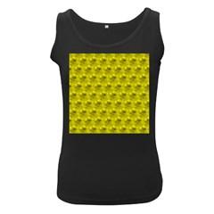 Hexagon Cube Bee Cell  Lemon Pattern Women s Black Tank Top
