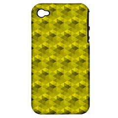 Hexagon Cube Bee Cell  Lemon Pattern Apple Iphone 4/4s Hardshell Case (pc+silicone) by Cveti