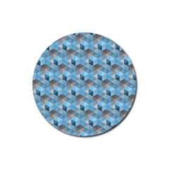 Hexagon Cube Bee Cell  Blue Pattern Rubber Coaster (round)  by Cveti