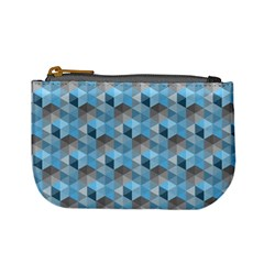 Hexagon Cube Bee Cell  Blue Pattern Mini Coin Purses by Cveti