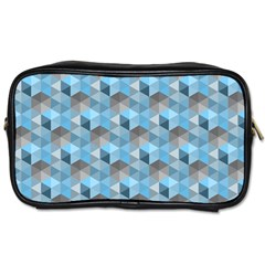 Hexagon Cube Bee Cell  Blue Pattern Toiletries Bags 2 Side by Cveti