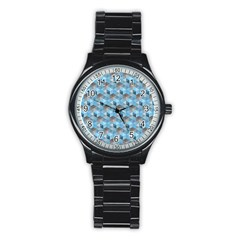 Hexagon Cube Bee Cell  Blue Pattern Stainless Steel Round Watch by Cveti