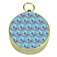 Hexagon Cube Bee Cell  Blue Pattern Gold Compasses by Cveti