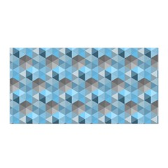 Hexagon Cube Bee Cell  Blue Pattern Satin Wrap by Cveti