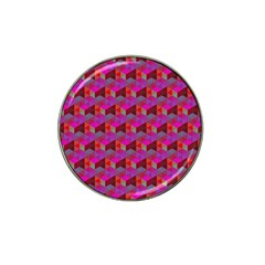 Hexagon Cube Bee Cell  Red Pattern Hat Clip Ball Marker (4 Pack) by Cveti