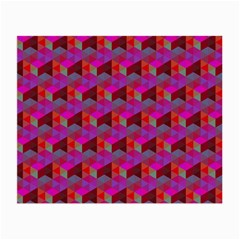Hexagon Cube Bee Cell  Red Pattern Small Glasses Cloth by Cveti