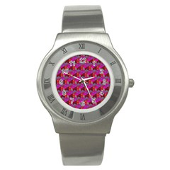 Hexagon Cube Bee Cell  Red Pattern Stainless Steel Watch by Cveti