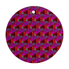 Hexagon Cube Bee Cell  Red Pattern Round Ornament (two Sides) by Cveti