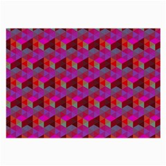 Hexagon Cube Bee Cell  Red Pattern Large Glasses Cloth (2 Side) by Cveti