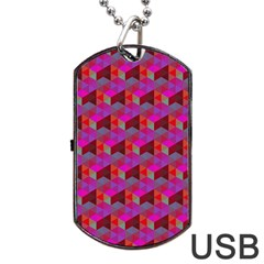 Hexagon Cube Bee Cell  Red Pattern Dog Tag Usb Flash (one Side) by Cveti