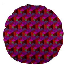 Hexagon Cube Bee Cell  Red Pattern Large 18  Premium Flano Round Cushions by Cveti
