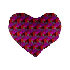 Hexagon Cube Bee Cell  Red Pattern Standard 16  Premium Flano Heart Shape Cushions by Cveti