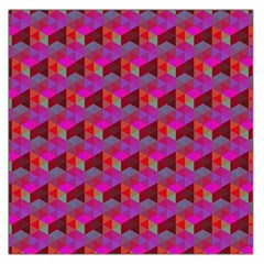 Hexagon Cube Bee Cell  Red Pattern Large Satin Scarf (square) by Cveti