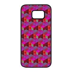 Hexagon Cube Bee Cell  Red Pattern Samsung Galaxy S7 Edge Black Seamless Case by Cveti