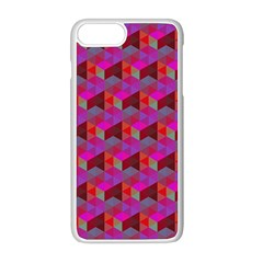 Hexagon Cube Bee Cell  Red Pattern Apple Iphone 8 Plus Seamless Case (white) by Cveti