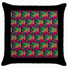 Hexagon Cube Bee Cell Pink Pattern Throw Pillow Case (black) by Cveti