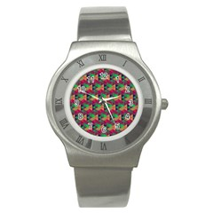 Hexagon Cube Bee Cell Pink Pattern Stainless Steel Watch by Cveti