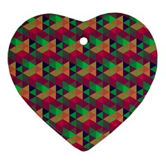 Hexagon Cube Bee Cell Pink Pattern Heart Ornament (two Sides) by Cveti