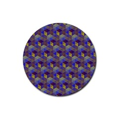 Hexagon Cube Bee Cell Purple Pattern Rubber Coaster (round)  by Cveti