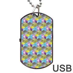 Hexagon Cube Bee Cell 1 Pattern Dog Tag Usb Flash (one Side) by Cveti