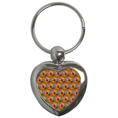 Hexagon Cube Bee Cell 2 Pattern Key Chains (heart)  by Cveti
