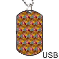 Hexagon Cube Bee Cell 2 Pattern Dog Tag Usb Flash (one Side) by Cveti