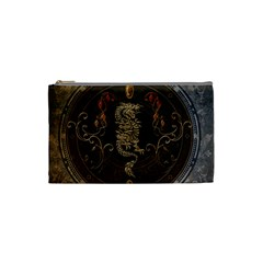 Golden Chinese Dragon On Vintage Background Cosmetic Bag (small)  by FantasyWorld7