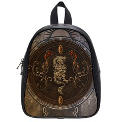 Golden Chinese Dragon On Vintage Background School Bag (small) by FantasyWorld7