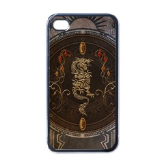 Golden Chinese Dragon On Vintage Background Apple Iphone 4 Case (black) by FantasyWorld7