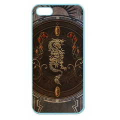 Golden Chinese Dragon On Vintage Background Apple Seamless Iphone 5 Case (color) by FantasyWorld7