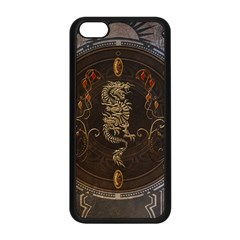 Golden Chinese Dragon On Vintage Background Apple Iphone 5c Seamless Case (black) by FantasyWorld7