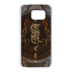 Golden Chinese Dragon On Vintage Background Samsung Galaxy S7 White Seamless Case by FantasyWorld7