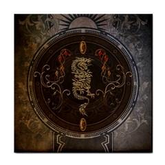 Golden Chinese Dragon On Vintage Background Tile Coasters by FantasyWorld7