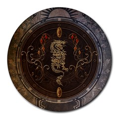 Golden Chinese Dragon On Vintage Background Round Mousepads by FantasyWorld7
