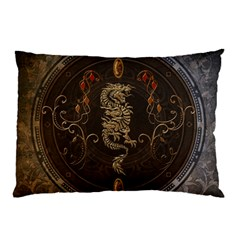 Golden Chinese Dragon On Vintage Background Pillow Case (two Sides) by FantasyWorld7