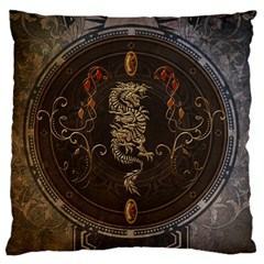 Golden Chinese Dragon On Vintage Background Large Cushion Case (two Sides) by FantasyWorld7