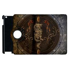 Golden Chinese Dragon On Vintage Background Apple Ipad 3/4 Flip 360 Case by FantasyWorld7
