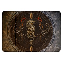 Golden Chinese Dragon On Vintage Background Samsung Galaxy Tab 8 9  P7300 Flip Case by FantasyWorld7