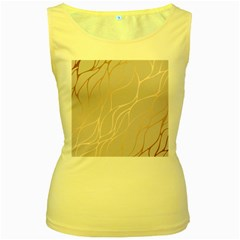 Rose Gold, Wave,beautiful,feminine,chic,elegant,metallic,modren,wedding,pink,trendy Women s Yellow Tank Top by 8fugoso