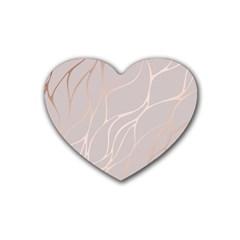 Rose Gold, Wave,beautiful,feminine,chic,elegant,metallic,modren,wedding,pink,trendy Rubber Coaster (heart)  by 8fugoso