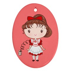 Robot Girl Cutie Oval Ornament