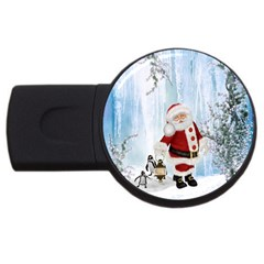 Santa Claus With Funny Penguin Usb Flash Drive Round (2 Gb) by FantasyWorld7