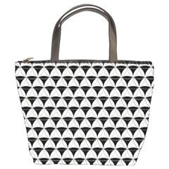 Diamond Pattern White Black Bucket Bags by Cveti