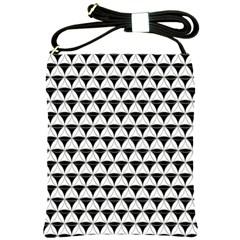 Diamond Pattern White Black Shoulder Sling Bags by Cveti